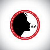 Young Woman Saying Shh To Silence Other People's Noise - Concept Vector