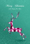 Merry Christmas Abstract Geometric Reindeer Card