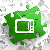 picture of televisor  - TV Set Icon on Green Puzzle - JPG