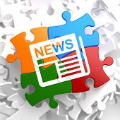 stock photo of mass media  - Newspaper Icon with News Word on Multicolor Puzzle - JPG