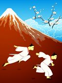 Running samurai over Mt. Fuji and blossoming sakura landscape