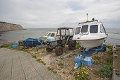 Small Pleasure Boat On Slipway At Coast