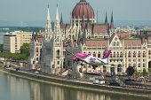 BUDAPEST, HUNGARY - MAY 1: Wizzair Airbus A320 performing a low pass over river Danube as part of the May 1 celebration of 2014.