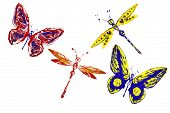 Red Yellow Blue Painted Butterflies And Dragonflies