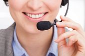 Close-up Of Female Telephone Operator