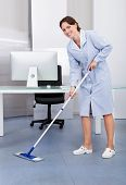 picture of janitor  - Portrait Of Happy Female Janitor Cleaning Floor At Office - JPG