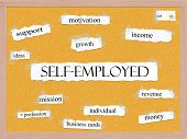 Self-employed Corkboard Word Concept