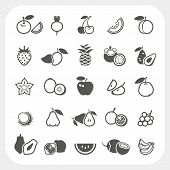 pic of plum fruit  - Fruit icons set isolated on white background - JPG