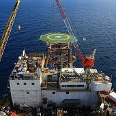 image of bow-legged  - Top View of Offshore Drilling Rig Towards The Bow Leg - JPG