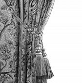 Curtain With An Ornament  In Black And White
