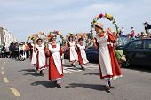 HASTINGS, ENGLAND - MAY 5, 2014: Members of the Copperfield Clogs morris dancing team perform during