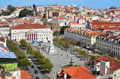 LISBON, PORTUGAL - MARCH 18: Aerial view of Rossio Square, with the National Theatre Dona Maria II i