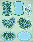 Set Of Labels And Cards With Pattern Of Beautiful Flowers - Forget Me Not - Floral Nature Background