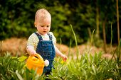Growing plants - baby with watering can