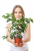 young woman holding a houseplant, isolated on white background
