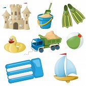 Set of colorful beach toys for kids. Vector illustration