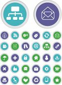 web internet apps presentation buttons, icons, signs set, vector