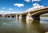 Margaret Bridge Across The Danube River. Budapest, Hungary