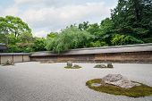 Famous Rock Garden Ryoanji in Kyoto, Japan.