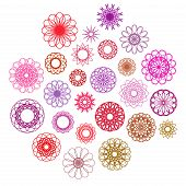 image of mehendi  - Round color ornament set - JPG