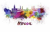 Mecca Skyline In Watercolor