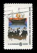 Us Postage Stamp Depicting The Landing Of The Mayflower