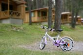 Children Pink Bicycle In Wooden Cabin Mountain