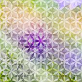 Green And Lavender Pastel Defocused Background With Geometric Ornament. Eps10