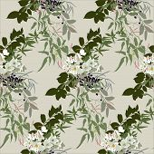 Floral pattern in earthy tones with jasmine, narcissus and black berries
