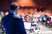stock photo of screen  - Speaker at Business Conference and Presentation - JPG