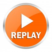 replay orange glossy icon