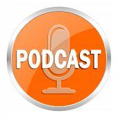 podcast orange glossy icon