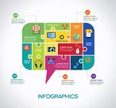 Network communication infographic Template with interface icons, puzzle, speech bubble and text. Net
