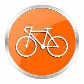 bicycle orange glossy icon
