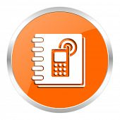 phonebook orange glossy icon