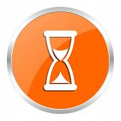 time orange glossy icon