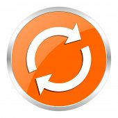 reload orange glossy icon