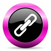 link pink glossy icon
