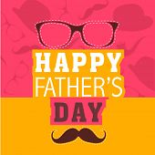 Colourful Happy Father's Day celebration poster, banner or flyer design with specs and mustache on p