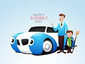Happy Father's Day celebrations poster, banner or flyer design illustration of a father with his kid