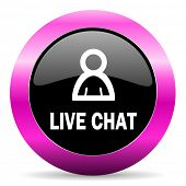 live chat pink glossy icon