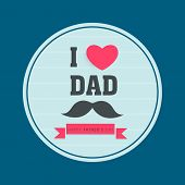Stylish sticker, tag or label design with text I Love You, pink heart shape and mustache on blue background for Happy Father's Day celebrations.