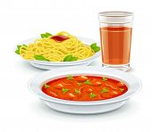 Set meal dinner menu with soup pasta and juice drink. Eps10 vector illustration. Isolated on white b