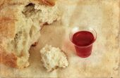 Communion Bread Loaf And Wine On Grunge