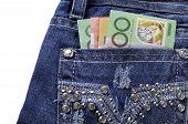 Australian Money In Back Pocket Of Feminine Ladies Rhinestone Decorated Jeans