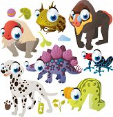 Vector animal set: Uakari, Horned Frog, Gamadril, Stegosaurus, Tree-frog, Dalmatian, Inchworm