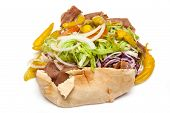 Lamb Doner Kebab Isolated On A White Studio Background.