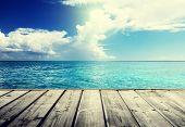 Caribbean sea and wooden platform