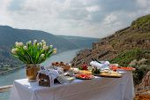 stock photo of moselle  - Lunch at the vineyard - JPG