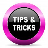 tips tricks pink glossy icon
